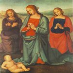 Pietro Perugino (1445-1523)  Madonna with Saints Adoring the Child  Oil on wood, 1503  34 1/4 x 28 1/4 inches (87 x 72 cm)  Pierpont Morgan Library, New York, USA